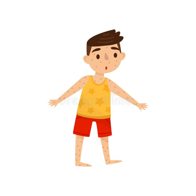 Little kid with rash on his body. Boy with measles. Infectious disease. Child with surprised face expression. Flat royalty free illustration