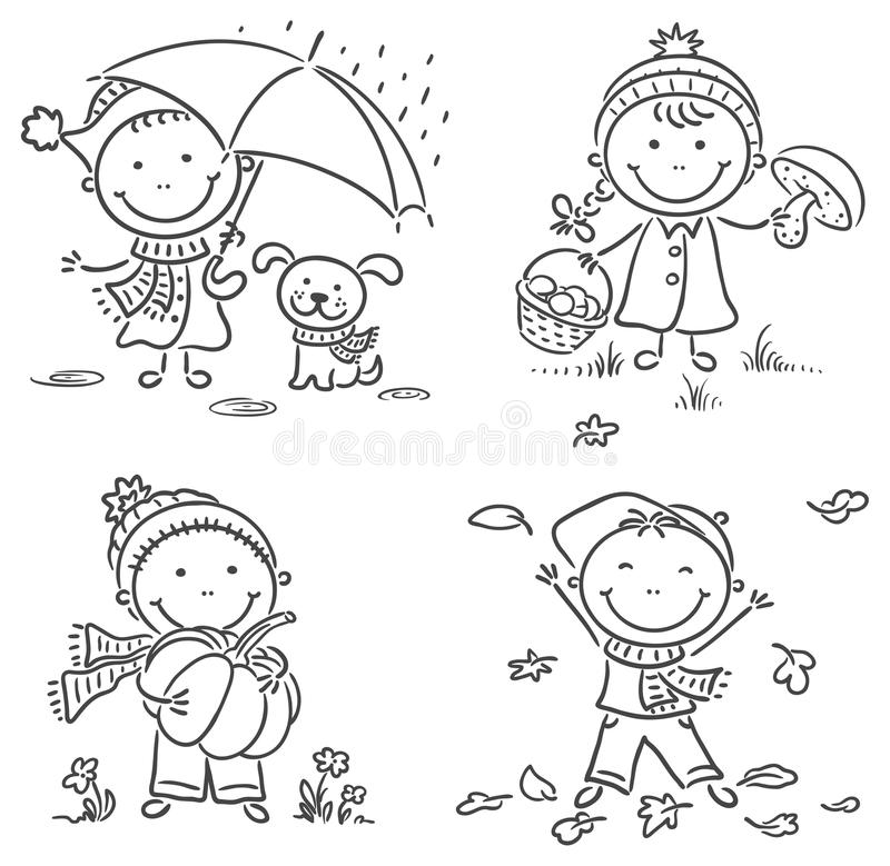 Little kids' autumn activities stock illustration