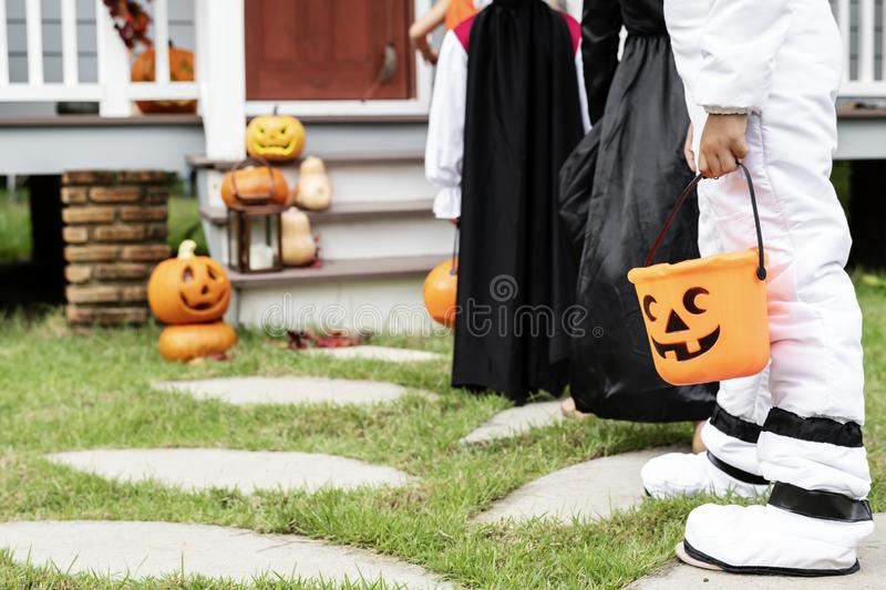 Little kids dressed up a halloween costume stock image