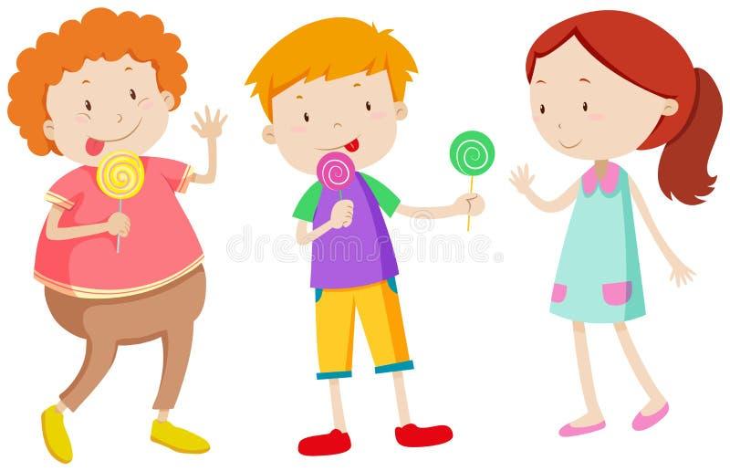 Little kids eating lollipops stock illustration