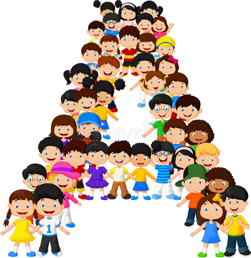 Little kids form alphabet A royalty free illustration