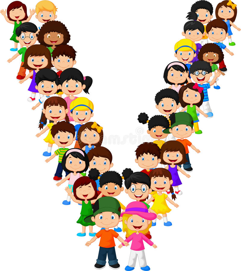 Free Little Kids Form Alphabet V Stock Image - 98485641