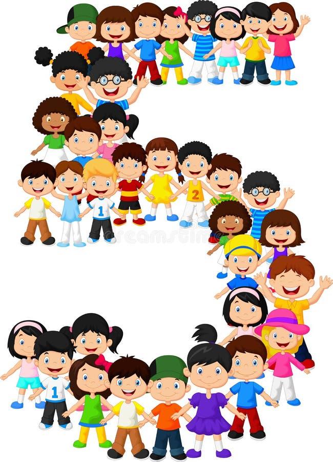 Little kids form number five stock illustration