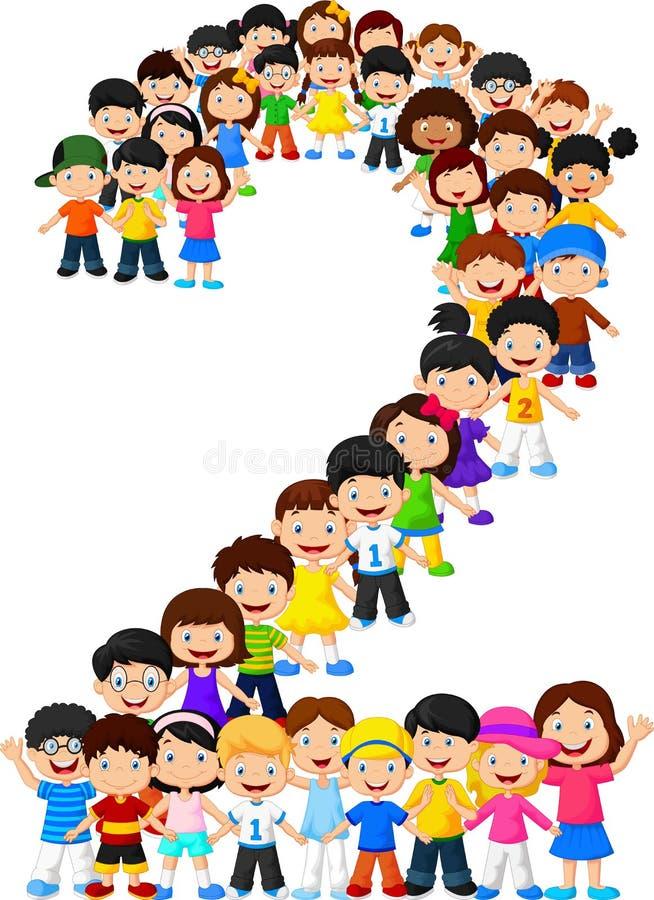 Little kids form number two vector illustration