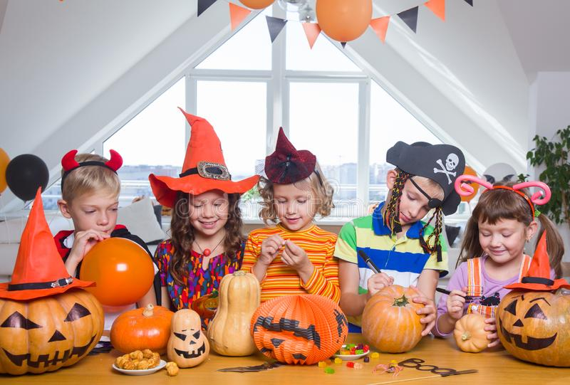 Kids in Halloween party royalty free stock photos