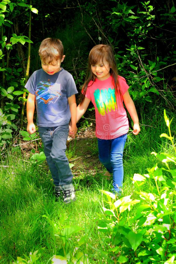 Little Kids Holding Hands stock photo