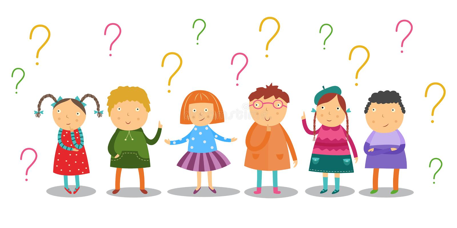 Little kids look thoughtfully and stand under lot of question marks set isolated on white background. Flat cartoon curiously school age children having stock illustration