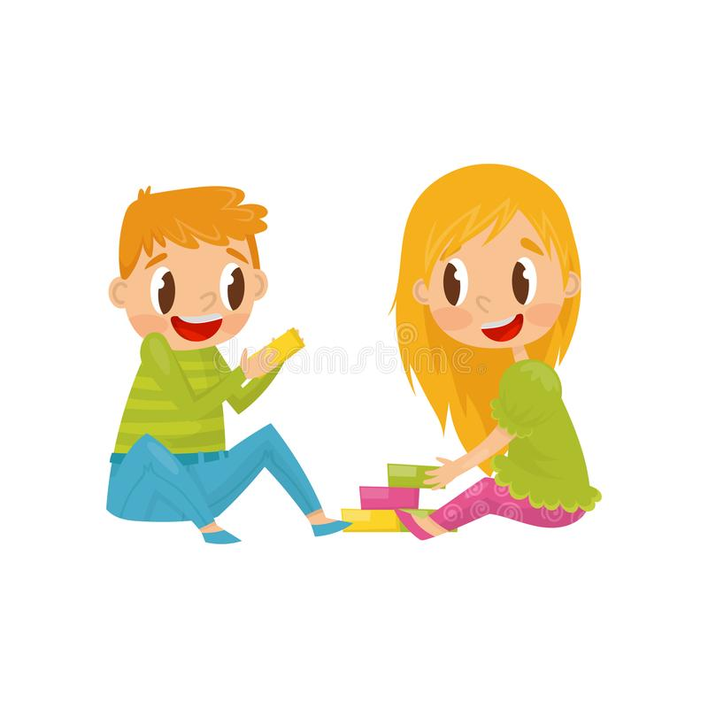 Little kids playing with colorful cubes. Brother and sister having fun together. Colorful flat vector design. Little kids playing with colorful cubes. Cartoon stock illustration