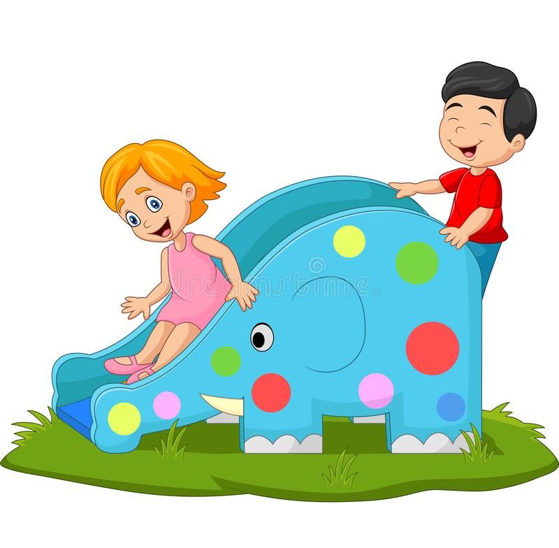 Free Little Kids Playing On Elephant Slide Royalty Free Stock Photography - 165902317
