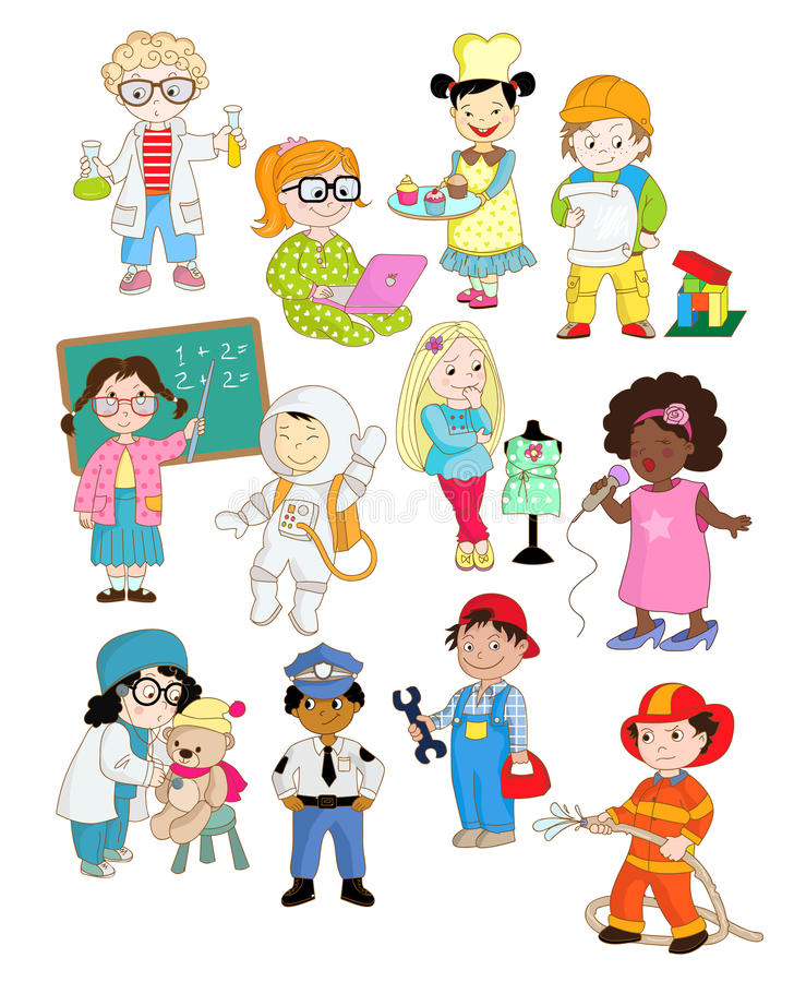 Little kids are pretending as adults. This is a set of clip art cartoon images with children playing their future professions royalty free illustration