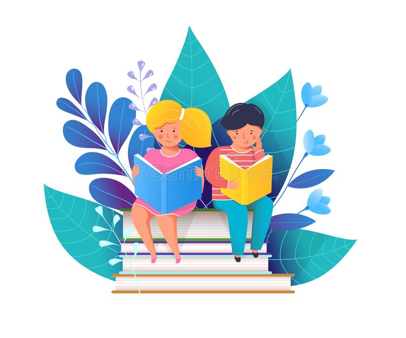 Little kids reading books flat vector illustration stock illustration