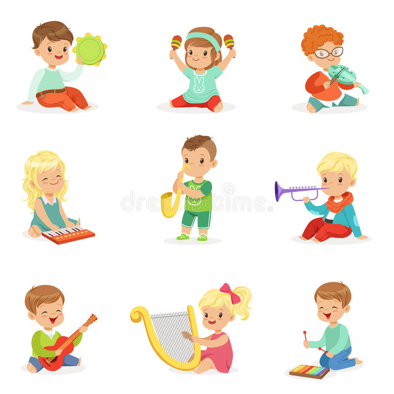 Free Little Kids Sitting And Playing Musical Instrument, Set For Label Design . Cartoon Detailed Colorful Illustrations Stock Photo - 89840600