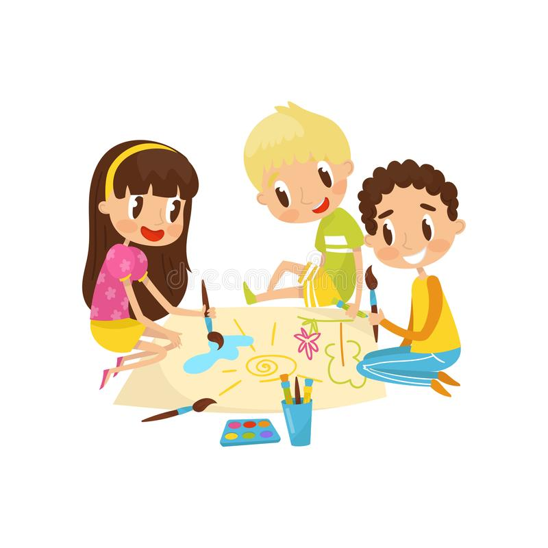 Little kids sitting on the floor and drawing aquarell paints on large sheet of paper, education and child development. Concept vector Illustration isolated on a royalty free illustration