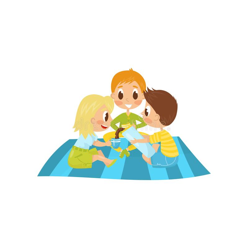 Little kids sitting on picnic carpet and drinking tea. Boy pouring hot chocolate from thermos bottle. Summer recreation royalty free illustration