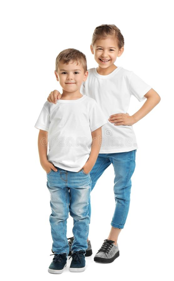 Little Kids In T Shirts On White Background Stock Photo Image Of