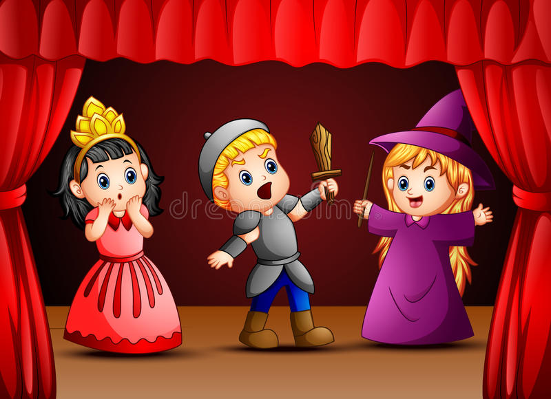 Little kids theater performance stock illustration