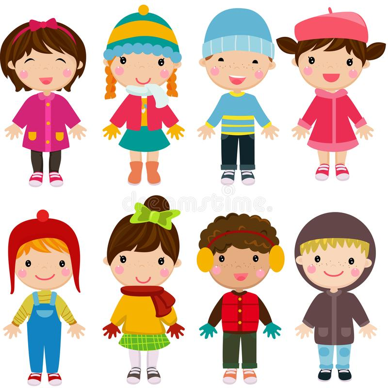 Little kids wearing winter clothes vector illustration