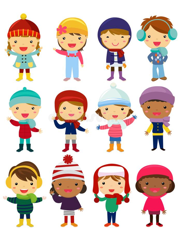 Little kids wearing winter clothes royalty free illustration