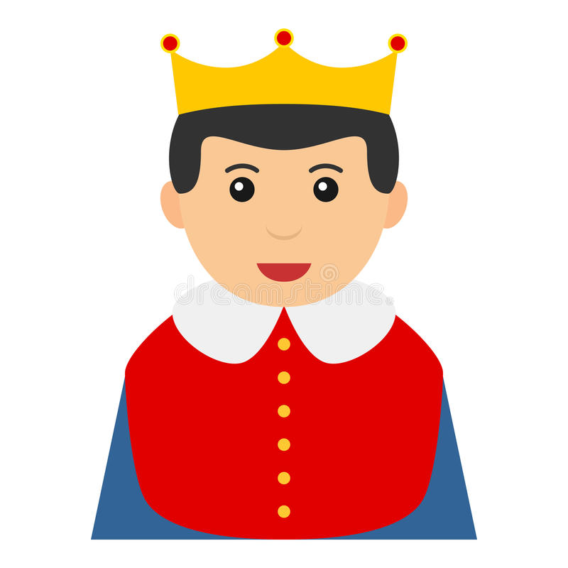Little King Avatar Flat Icon Isolated on White. Avatar flat icon series: caucasian little king with red uniform, blue cloak and golden crown, isolated on white vector illustration