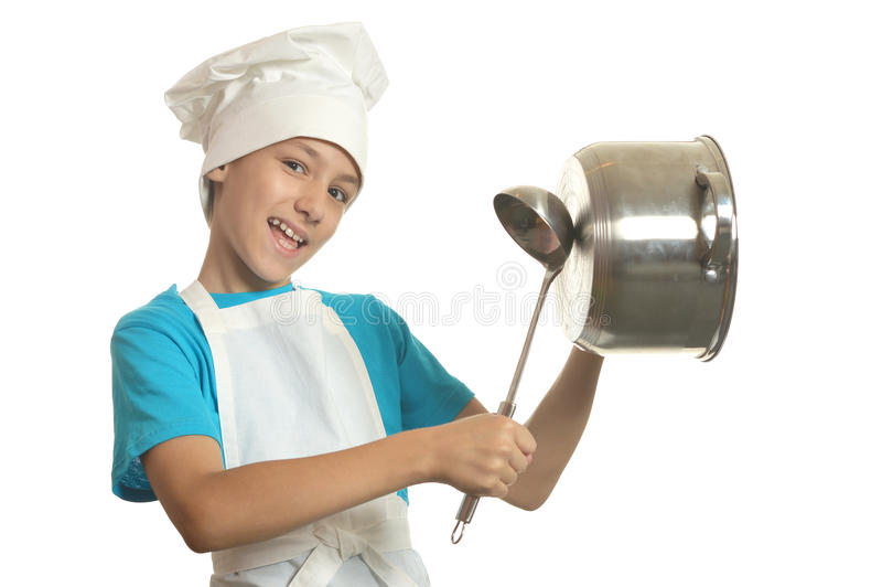 Little kitchen boy royalty free stock photography