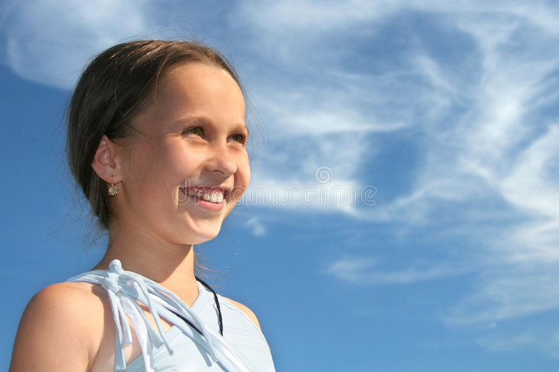 Download Little lady stock photo. Image of girl, blue, longing - 1123970