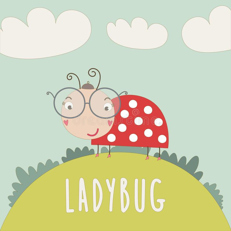 Little lady bug on the lawn. Funny little lady bug walking on the lawn. Vector illustration royalty free illustration