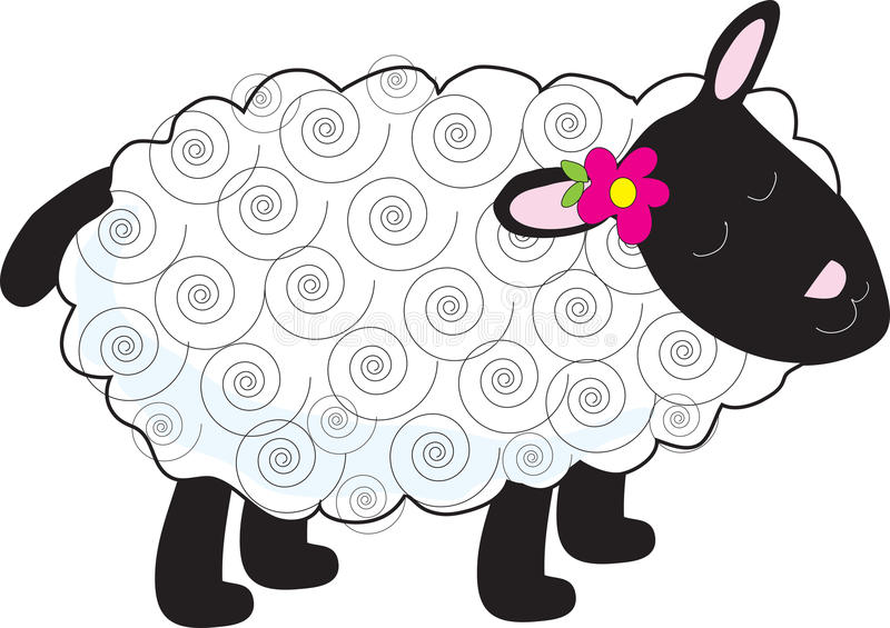 Little Lamb. A little lamb has a curly, white coat and black face, legs and tail. A small flower sits beside one of her pink ears stock illustration