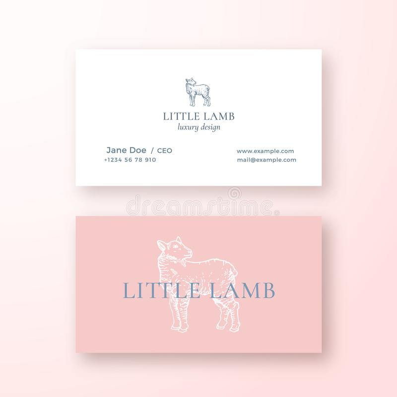 Little Lamb Abstract Feminine Vector Sign or Logo and Business Card Template. Premium Stationary Realistic Mock Up vector illustration