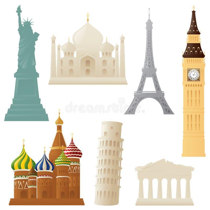Little Landmarks. Simple representations of some world landmarks stock illustration