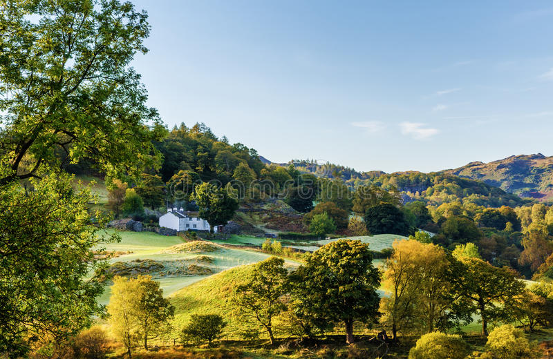 Little Langdale valley. Scenic morning view of Little Langdale valley in the Lake District, Cumbria, England stock photo