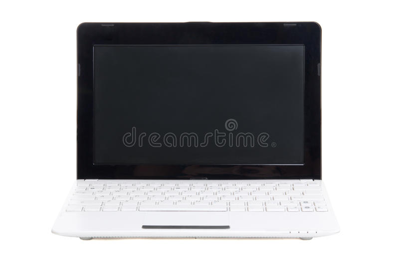 Little Laptop With Blank Screen Isolated On White Stock Photography