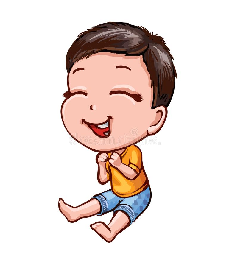 Little laughing boy with dark hair. Cartoon vector picture. Cartoon asian boy with dark hair and fair skin. Cheerful laughing child in bright clothes. Character vector illustration