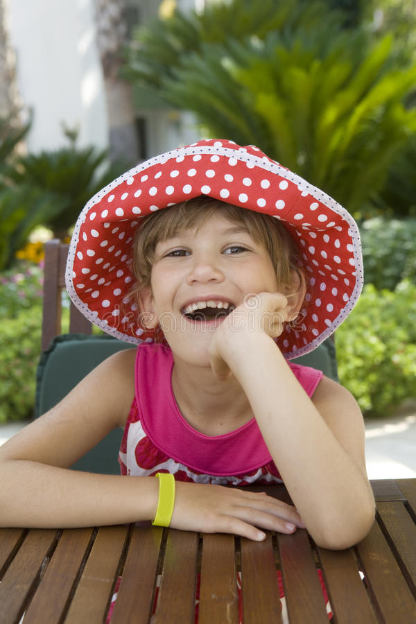 Download Little Laughing Girl In Spot Panama Royalty Free Stock Images - Image: 11758219