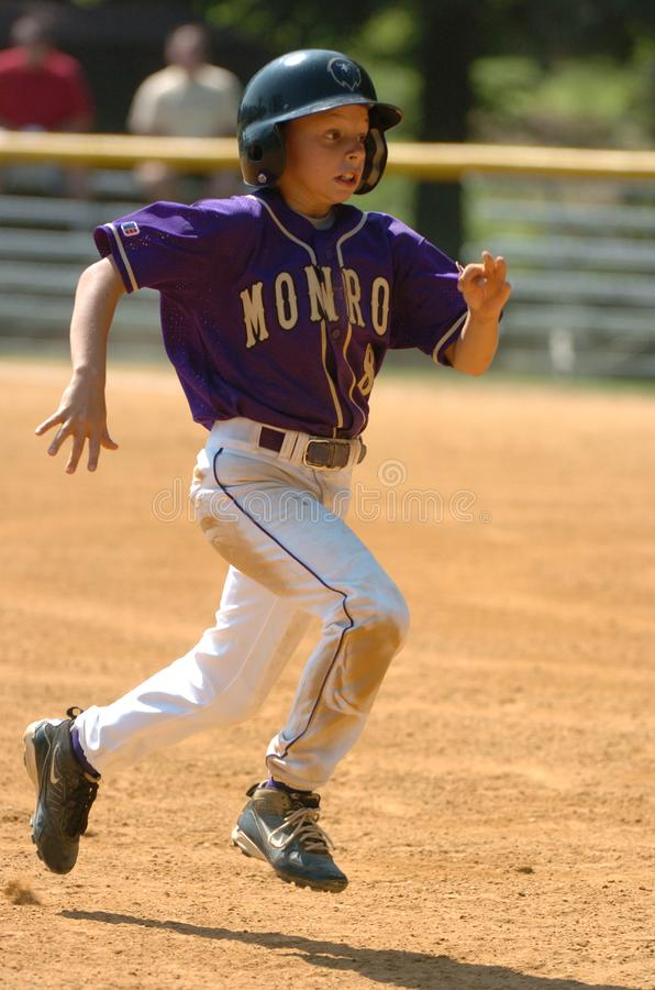 Little league Baseball Game Action. Being played in Central New Jersey in the East Coast of the United States stock photo