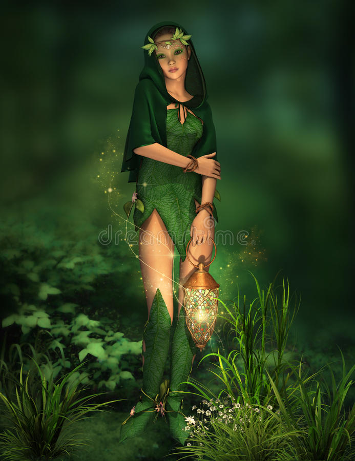 Little Light in the Deep Forest. A deep forest fairy with a lantern in her hand