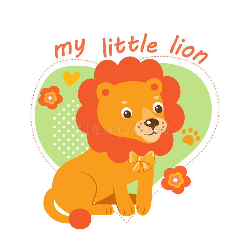 Little Lion Vector Illustration. Babies Theme Cartoon Vector. Cute Picture For Kids. stock illustration
