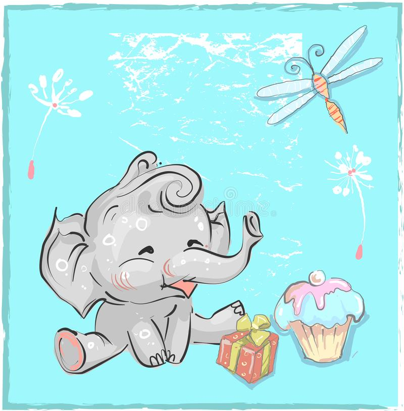 Little lovely elephant birthday with dragonfly and cake for prints download little lovely elephant birthday with dragonfly and cake for prints cards t shirts baby filmwisefo