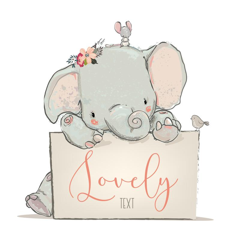 Little lovely elephant with mouse and bird royalty free illustration