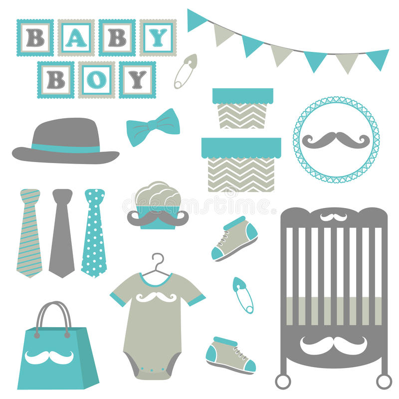 Little man baby shower. Related items collection stock illustration