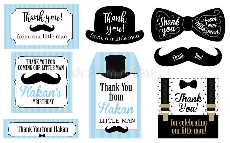 Little man birthday party Baby shower party tags. Thank you favor card. vector illustration
