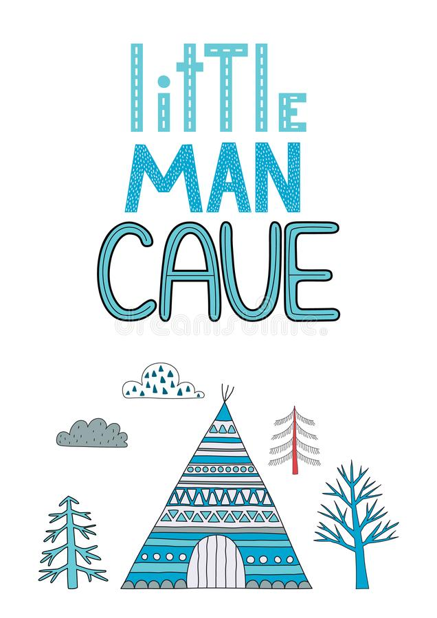 Little man cave poster for a nursery. stock illustration