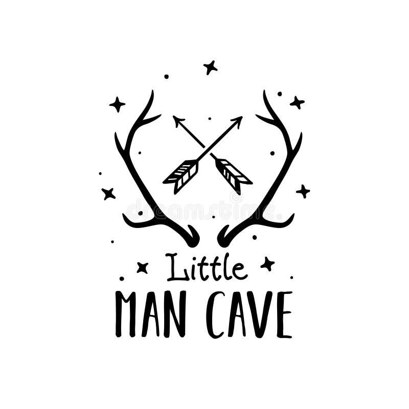 Little man cave scandinavian style hand drawn poster. Vector illustration. stock illustration