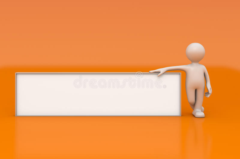 Little man with empty signboard. On orange background with clipping path stock illustration