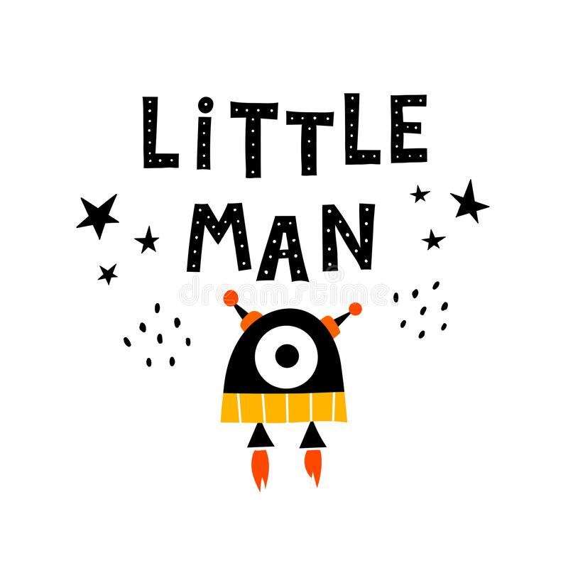 Little man. funny robot with lettering, stars, decor elements. vector illustration for children. hand drawing. vector illustration