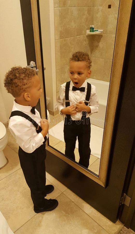 Little Man in the Mirror royalty free stock photos