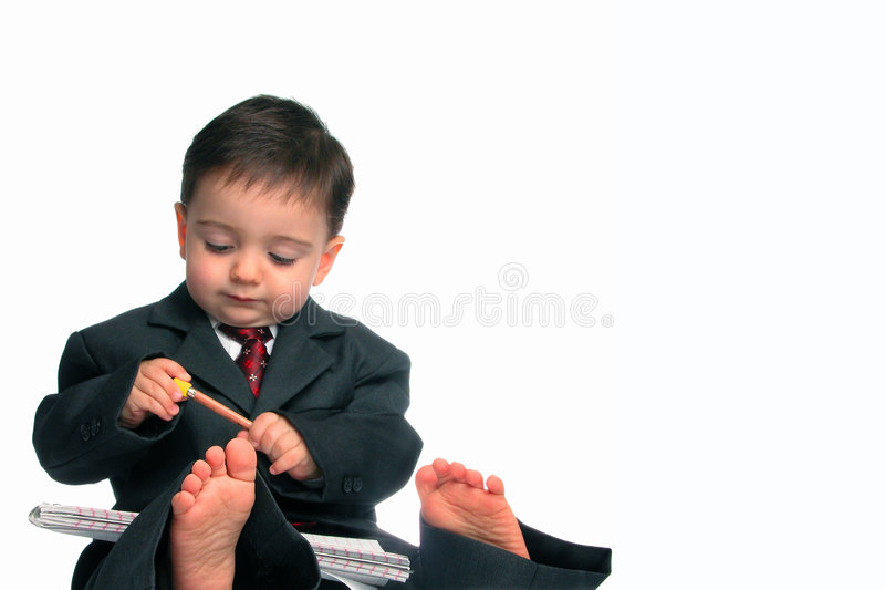 Little Man Series: Barefoot & Business (1 of 2) stock photo