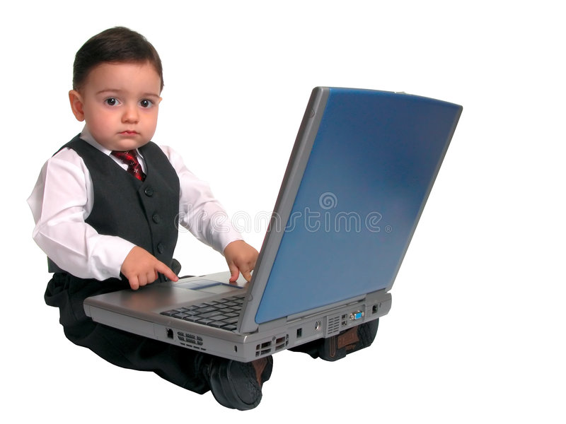 Little Man Series: Looking Up from Laptop stock photos