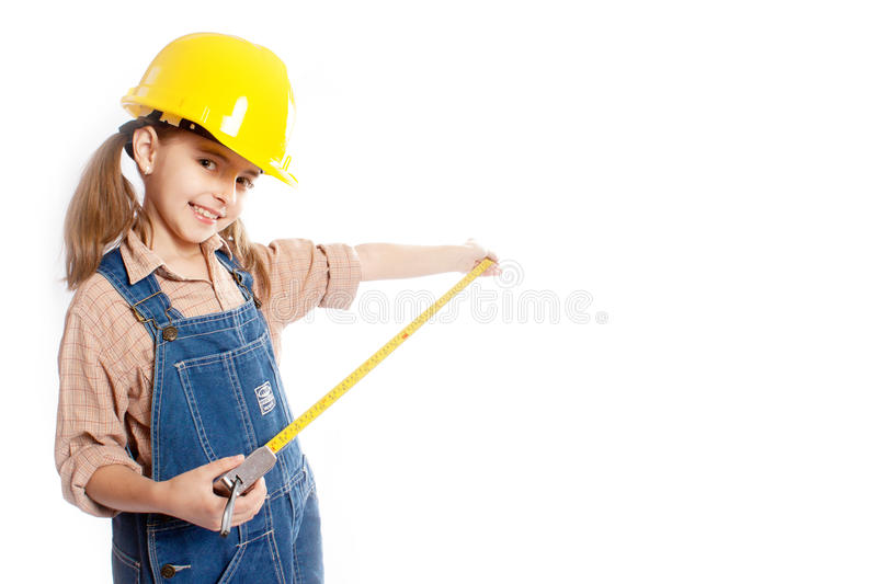 LIttle master girl with ruler royalty free stock images