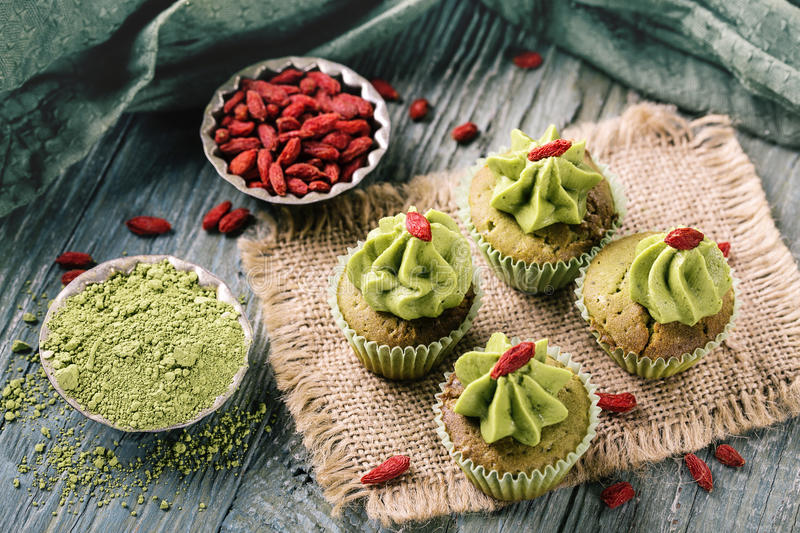 Little matcha cup cakes stock images