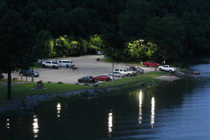 Little Maumelle River boat launch. Seen from Two Rivers Park Bridge. After sunset. Little Rock, Arkansas royalty free stock photos